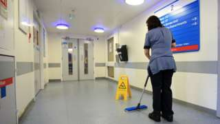 A ward being cleaned at the Royal Liverpool University Hospital, Liverpool