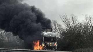 Lorry fire on the A14.