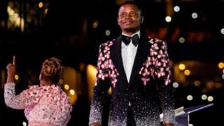 Sheperd Bushiri and im wife Mary during New Year crossover service. FNB Stadium, 31 December, 2019