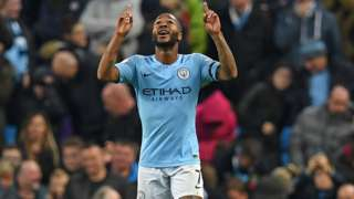 Raheem Sterling celebrates his second goal