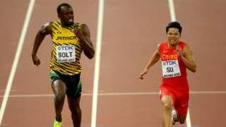 Bingtian Su, here seen racing alongside Usain Bolt on the 2015 World Championships