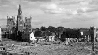 1942 Bomb damage around Exeter Cathedral