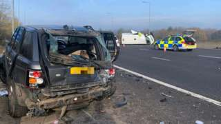 Crash on M1 northbound, between junction 27, in Nottinghamshire, and 28, in Derbyshire