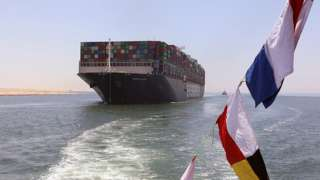 The Ever Given is seen in the Suez Canal at Ismailia, Egypt, July 7, 2021