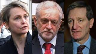Composite image featuring, from left: Yvette Cooper, Jeremy Corbyn and Dominic Grieve