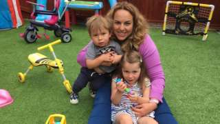 Sara Powell-Davies with three-year-old Tirion and one-year-old Cadel