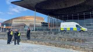 Police outside the Senedd (file photo)