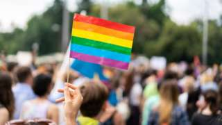 Rainbow flag at a gay pride parade