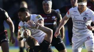 Leicester full-back Telusa Veainu carries the ball into contact