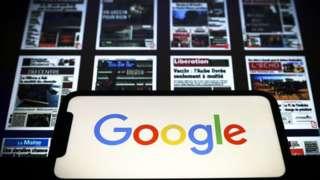 логотип Google и страницы французских изданий, входящих в ассоциацию APIG