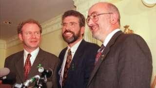 Martin McGuinness, Gerry Adams and Caoimhghín Ó Caoláin