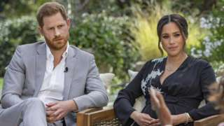 Harry and Meghan speaking to Oprah with credit