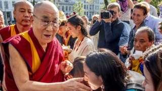 Tibetan spiritual leader the Dalai Lama meets fans in Rotterdam, the Netherlands, 14 September 2018