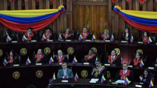 Venezuelan Attorney General, Tarek William Saab, Venezuelan President Nicolas Maduro, Venezuela's Supreme Court president Maikel Moreno and the president of the Constitutional Assembly Delcy Rodriguez attend a ceremony for the opening of the judicial year at the Supreme Court in Caracas, on February 14, 2018.
