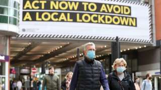 People wearing face masks in Manchester
