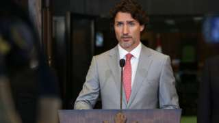 Canada's Prime Minister Justin Trudeau speaks during a news conference on Parliament Hill August 18, 2020 in Ottawa, Canada
