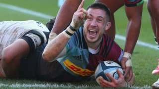 Mike Brown celebrates a try for Harlequins