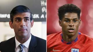 Rishi Sunak and Marcus Rashford