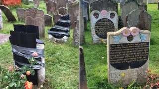 Vandalised gravestone