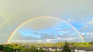 A double rainbow over Plymstock in Devon