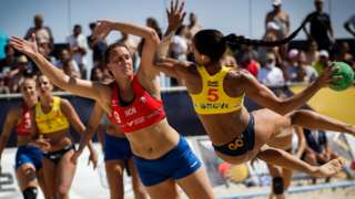 Norway v Spain at the European Beach Handball Championship
