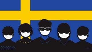 Bandeira da Suécia e coronavírus