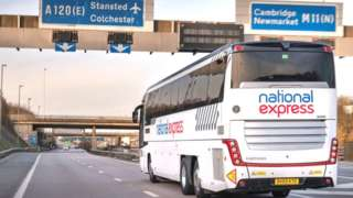 National Express bus on the motorway