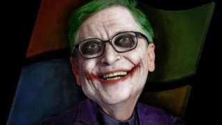 A scary mocked-up image of Bill Gates dressed as the Joker