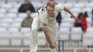 Worcestershire's Dillon Pennington struck twice in three overs to leave Notts labouring at Trent Bridge