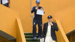 Joe Root walks out for the toss in the first Test