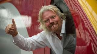 Richard Branson on a Virgin Train in the UK