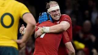 Wales captain Alun Wyn Jones celebrates beating Australia with Justin Tipuric