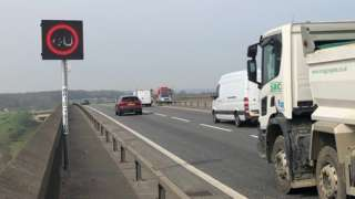 Electronic speed limit sign on Orwell Bridge, Suffolk