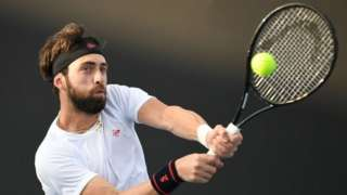 Nikoloz Basilashvili plays at the Australian Open in Melbourne. Photo: January 2020