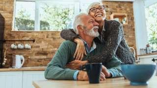 Older couple looking happy