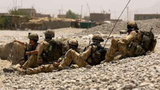 Handout photo issued by the MoD of British soldiers from 3 Para and 1 Royal Irish conducting clearance patrols in and around the town of Sangin, Helmand Province, Afghanistan