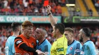 Simon Murray is sent off