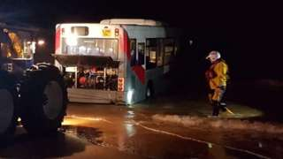 Bus in sea at Cleethorpes