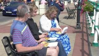 Family eating chips in Penarth