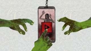 动画显示三只邪恶之手伸向一部手机,当中有一名被困妇女