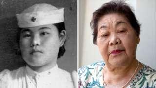 广岛原爆几年之后,在广岛红十字会医院当护士的上野照子(左),和2015年的照子。