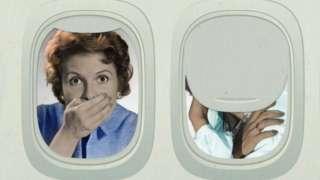 Ilustração mostra na janela do avião mulher com mão em frente ao rosto, indicando vergonha