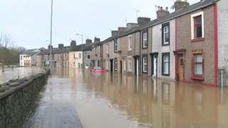 Flooded street in Cumbria