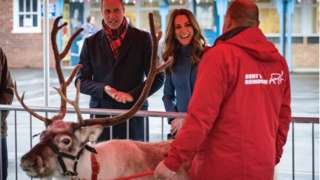 Kate and William meet a reindeer