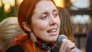 Bazhena Zholudzh addresses a rally in Kyiv