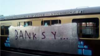 One of the vandalised carriages