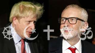 Boris Johnson and Jeremy Corbyn with religious symbols