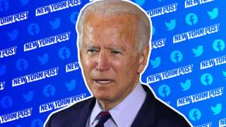 Joe Biden and the New York Post logo
