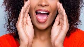 A woman shouting