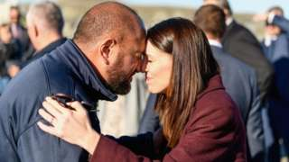New Zealand Prime Minister Jacinda Ardern receives a hongi from Whale Watch Kaikoura General Manager Kauahi Ngapora at South Bay Marina on June 10, 2020 in Kaikoura, New Zealand.